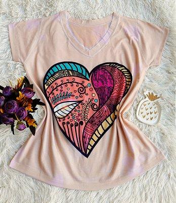 T-shirt Feminina Coração