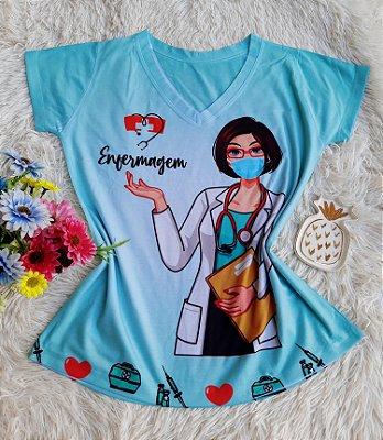 T shirt Feminina Profissão no Atacado Enfermagem Fundo Azul