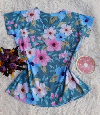 Camiseta Feminina Floral no Atacado Flores Grandes Coloridas