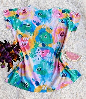 Camiseta Feminina Floral no Atacado Abstrata Colorida