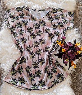 Camiseta Feminina Floral Coqueiros