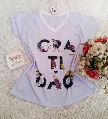 T shirt Feminina Básica no Atacado Gratidão Flores