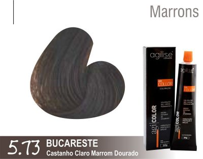 COLORAÇÃO 5.73 |CASTANHO CLARO MARROM DOURADO | BUCARESTE - 60GR