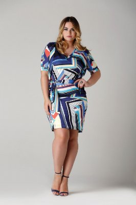 Vestido Toscana com estampa gráfica e decote V - VEV1702