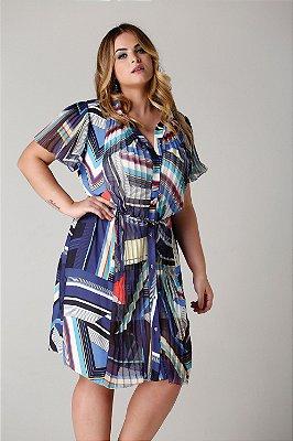Vestido Ibiza estampa gráfica com mangas e recortes plissado - VEV1709