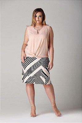 Blusa sem mangas com plaquinha no decote e nó - BLV1733