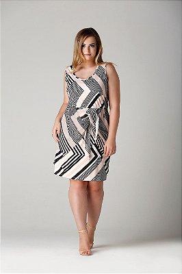 Vestido Barbados estampa geométrica com amarração - VEV1712