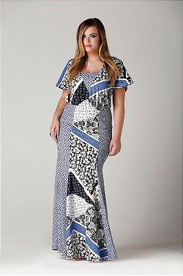 Vestido Parati longo estampa patchwork e recortes - VEV1705