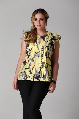 Blusa estampa floral tropical pregas e babados - BLV1736