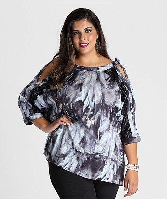 Blusa Calabasas em viscose com renda e amarração - BLIN1716