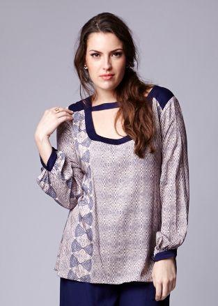 Blusa Blink em viscose estampada com recorte - BLIN1619