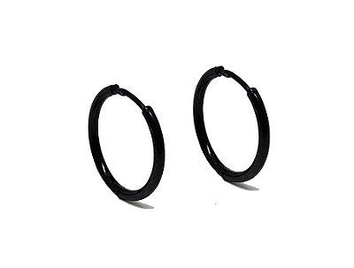 Brinco Masculino Black 15mm de Diâmetro - Aço Inoxidável - PAR