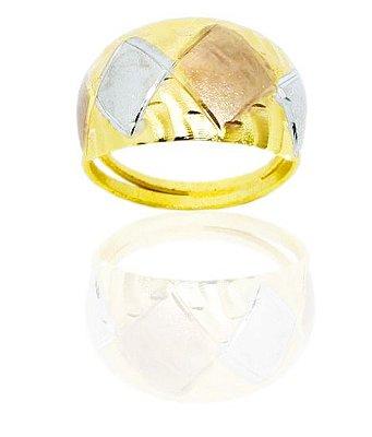 Anel feminino folheado a ouro 18k com detalhes a ródio prata e rosê