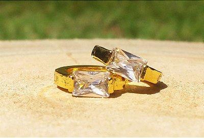 Brinco argola ponto de luz Cristal folheado a Ouro 18k
