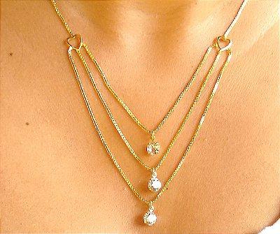 Colar feminino trio de zircônias cristais folheado a Ouro 18k