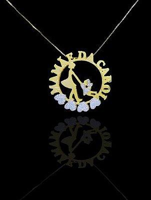 Colar com nome modelo mandala até 3 nomes coleção amor de mãe folheado a ouro 18k