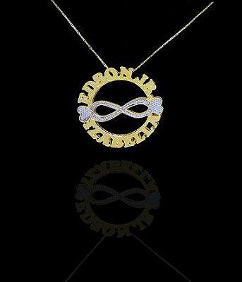 Colar com nome modelo mandala até 3 nomes coleção infinitos folheado a ouro 18k