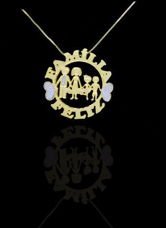 Colar com nome modelo mandala até 2 nomes coleção família feliz folheado a ouro 18k