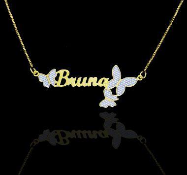 Colar com nome simples coleção borboletas folheado a ouro 18k
