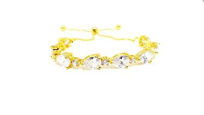 Pulseira Feminina Folheada a Ouro 18k Regulável com Zirconias Cristal