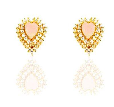 Brinco coração folheado a ouro 18k com zirconia rosa leitosa