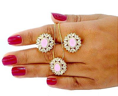 Conjunto colar e brincos folheados em ouro 18k com zirconia cor rosa leitoso e navetes cristal