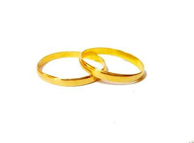 Par de alianças em ouro 18k com acabamento liso polido