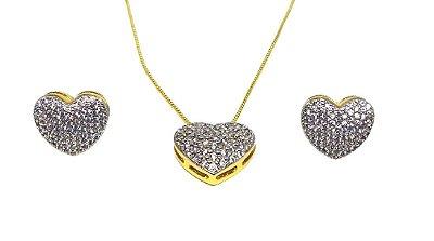 Conjunto colar e brincos corações com zirconias cristais folheados a ouro 18k