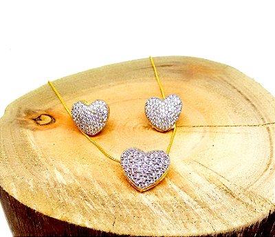 Conjunto colar e brincos corações cravejados zirconias cristais folheados a ouro 18k