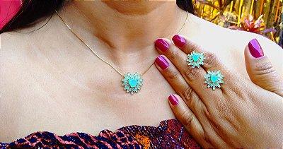 Conjunto colar e brincos pedra coração e zirconias azuis folheados em ouro 18k