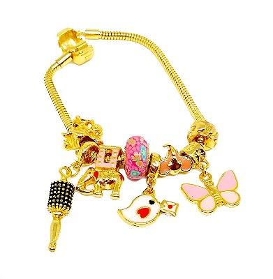 Pulseira Pandora com Berloques Symbol Rosa Folheado a Ouro 18k