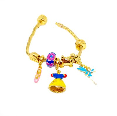 Pulseira e berloques modelo pandora folheados a ouro 18k  Symbol Princesa