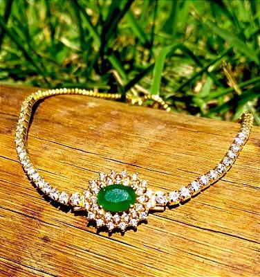 Pulseira folheada a ouro 18k modelo regulagem com zirconias na cor esmeralda