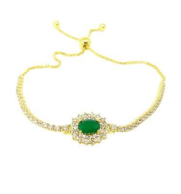 Pulseira Feminina Folheada a Ouro 18k regulagem e zirconia esmeralda