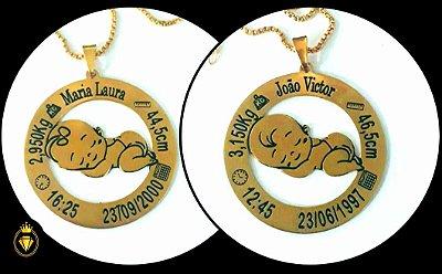 Colar personalizado coleção orgulho de ser mamãe folheado em ouro 18k