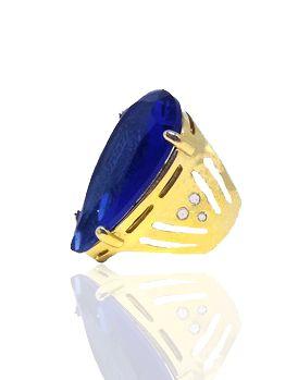 Anel Solitário Pedra Azul Folheado a Ouro 18k