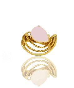 Anel com Pedra Rosa Folheado a Ouro 18k Aro Trabalhado