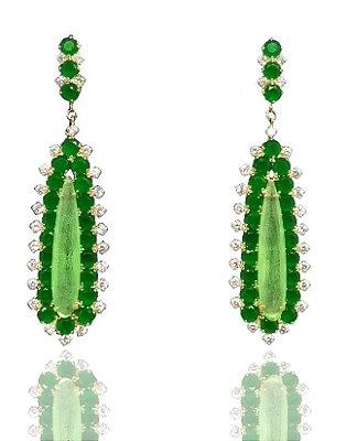 Brinco Pedra Verde Cravejado com Zirconias Folheado a Ouro 18k