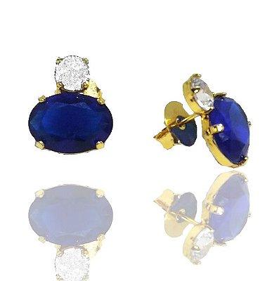 Brinco Pedra Azul Folheado a Ouro 18k