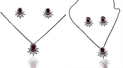 Conjunto Brinco e Colar Folheado a Ródio Negro com Zirconias Rubi