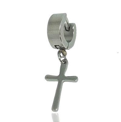 Brinco Masculino Argola 4mm Pingente Cruz - 1 PEÇA (NÃO É O PAR)