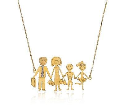 Colar com pingente personalizado família feliz folheado a ouro 18k