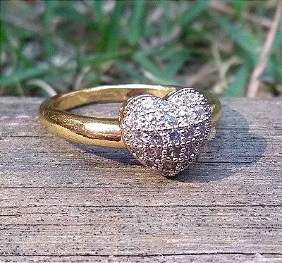 Anel de Coração com Zircônias Cravejadas Folheado a Ouro 18k
