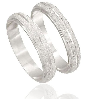 Aliança Namoro Prata 925 4mm Diamantada - PAR