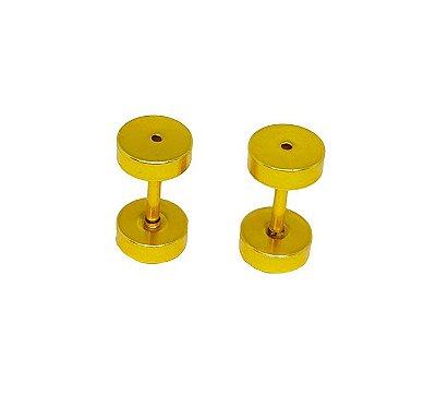 Brinco Masculino Falso Alargador 6mm Aço Dourado -  PAR