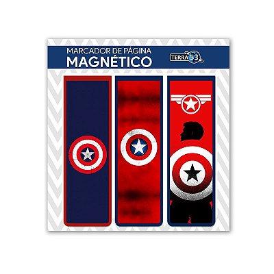 Pack Marca Página Magnético Capitão América - Marvel - KIM07