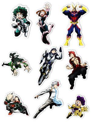 Ímãs Decorativos My Hero Academia Set A - 9 unid