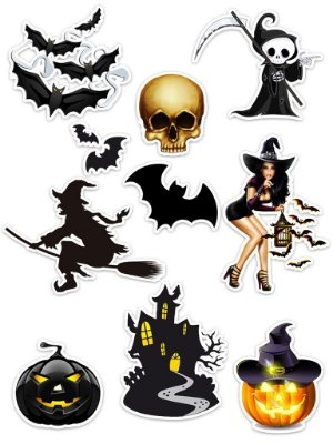 Ímãs Decorativos Halloween Set C - 10 unid