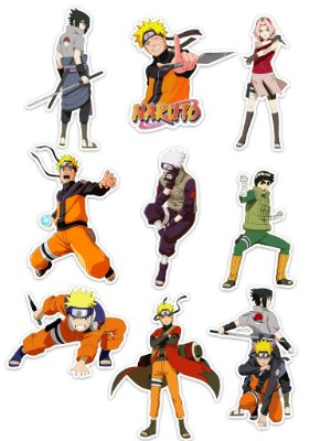 Ímãs Decorativos Naruto Set A - 9 unid
