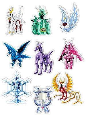 Ímãs Decorativos Cavaleiros do Zodíaco Set G - 9 unid